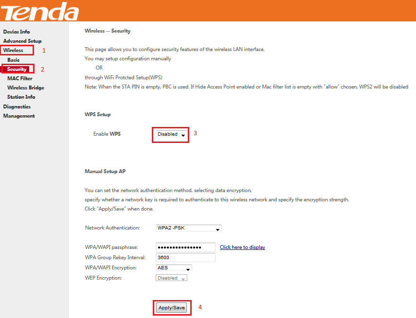 تنظیمات مودم Tenda