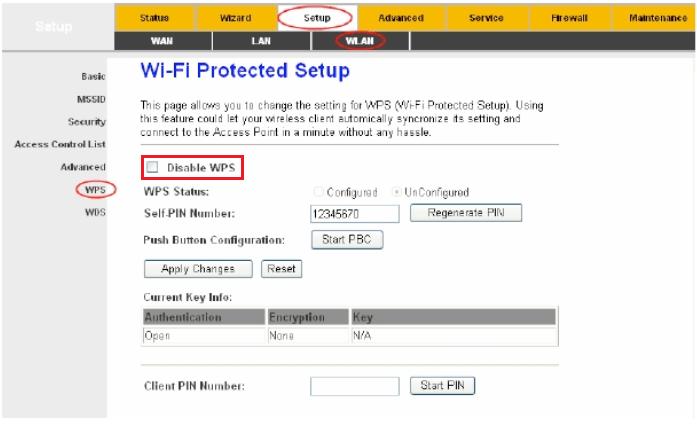 غیر فعال کردن مودم WPS
